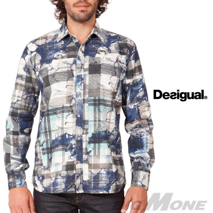 DESIGUAL チェックプリントシャツ 38c1266