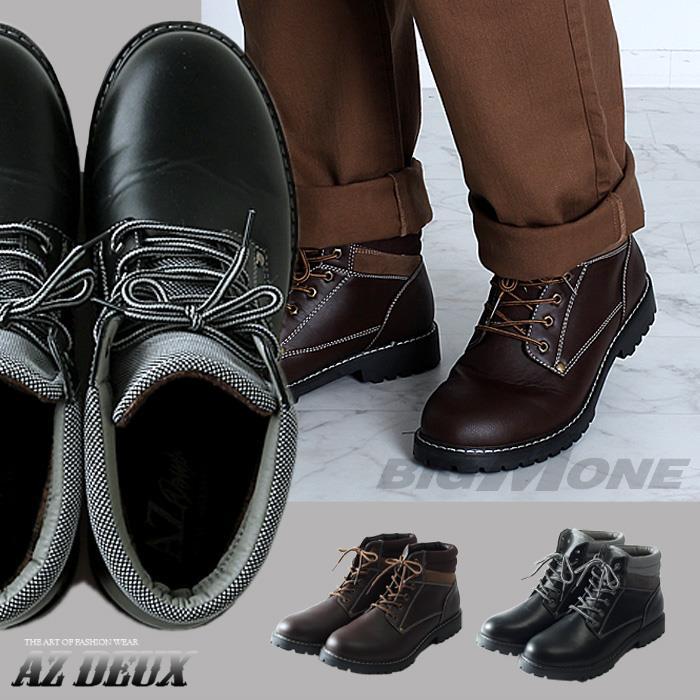 大きいサイズ メンズ AZ DEUX シューズ ブーツ ミドルカット ワークブーツ azsn-169006
