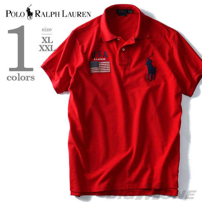 大きいサイズ メンズ POLO RALPH LAUREN ポロ ラルフローレン 半袖 刺繍付き ビッグポニー 鹿の子 ポロシャツ レッド XL XXL USA 直輸入 710662992002
