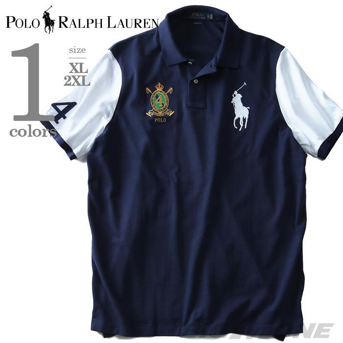 大きいサイズ メンズ POLO RALPH LAUREN ポロ ラルフローレン 半袖 刺繍付き ビッグポニー 鹿の子 ポロシャツ ネイビー XL XXL USA 直輸入 710660724