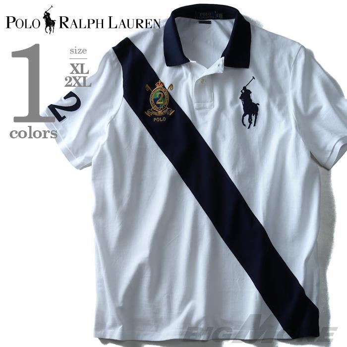 大きいサイズ メンズ POLO RALPH LAUREN ポロ ラルフローレン 半袖 刺繍付き ビッグポニー 鹿の子 ポロシャツ ホワイト XL 2XL USA 直輸入 710660725