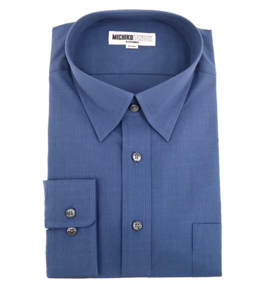 送料無料 MICHIKO セミワイドカラーシャツ(長袖) ネイビー 0057-9552-4 大きいサイズ 2L 2TL 3L 5L TLL