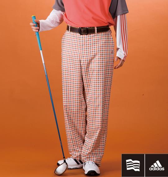 大きいサイズ メンズ adidas golf ブロック チェックパンツ ボトムス ズボン パンツ オレンジ系 1174-1311-1 100 105 110 115 120 130