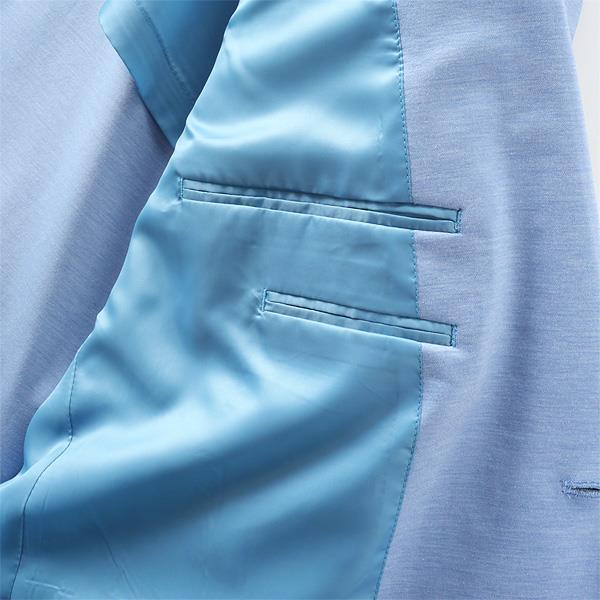 大きいサイズ メンズ 2L 3L 4L 5L チーフ付ニットジャケット サックス 121318-85