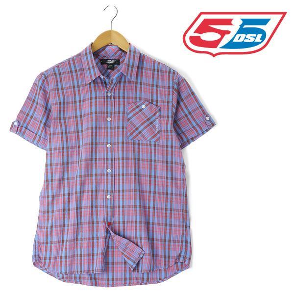 大きいサイズ メンズ 55DSL 半袖 シャツ チェックシャツ ブルー系 春夏 XL XXL USA 直輸入 05d01z-55a38-d002
