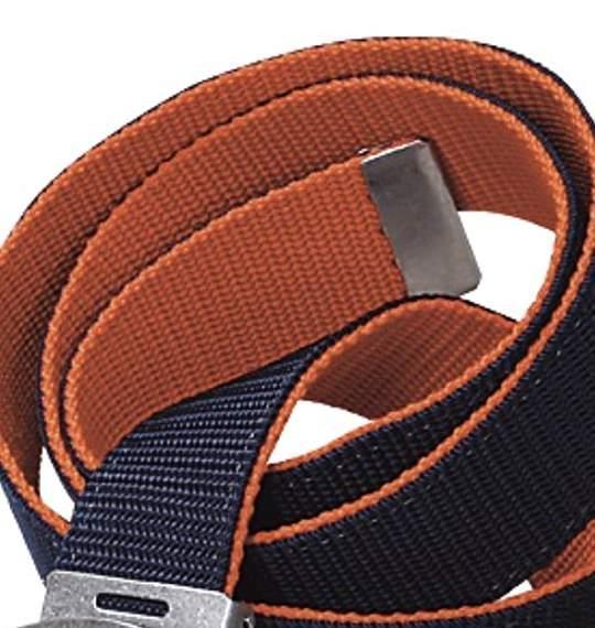 大きいサイズ メンズ  ベルト リバーシブル GIベルト ネイビー × オレンジ 1150-2210-3 6L