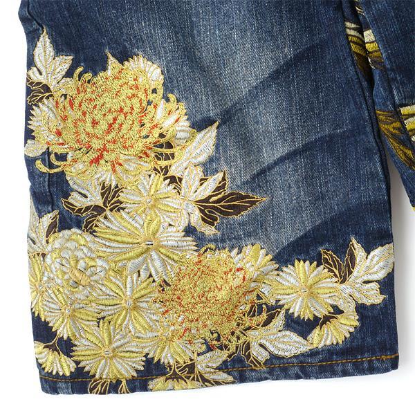 大きいサイズ メンズ 95 100 105 110 華鳥風月 鳳凰柄 刺繍 デニムショートパンツ ネイビー 322511-az-00