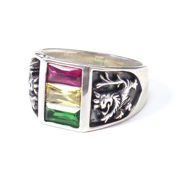 大きいサイズ メンズ シルバーリング ライオン柄 指輪 アクセサリー SILVER 925 23号 25号 hgring-07
