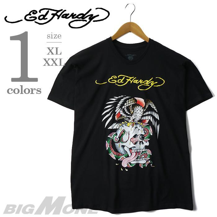 大きいサイズ メンズ XL XXL ED HARDY エド ハーディー 半袖 プリント Tシャツ USA 直輸入 eh12-1217
