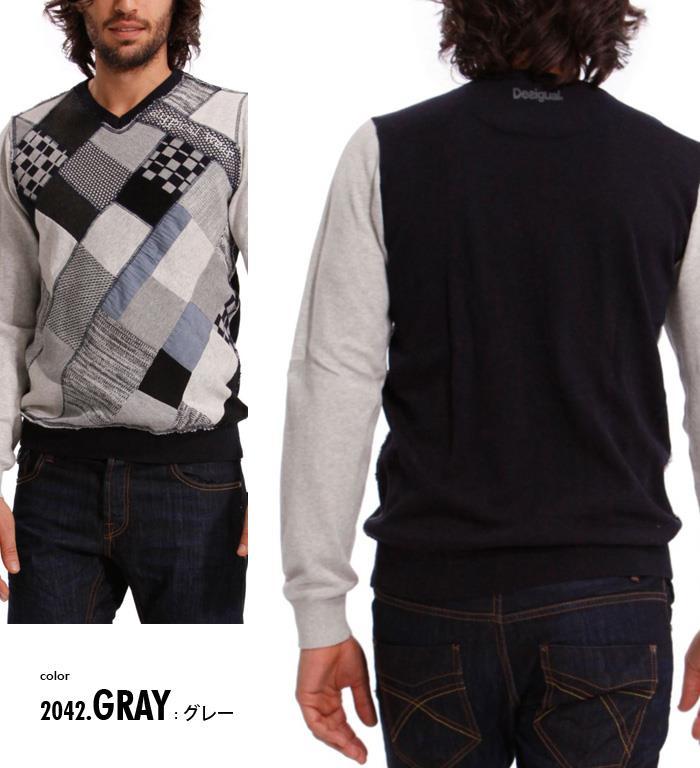 大きいサイズ メンズ XL XXL 3XL DESIGUAL (デシグアル) Vネックデザインセーター (Tern) 37j1153