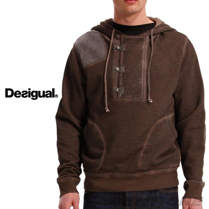 大きいサイズ メンズ XL XXL 3XL DESIGUAL (デシグアル) パッチワーク付プルパーカー (Celar) 37s1008