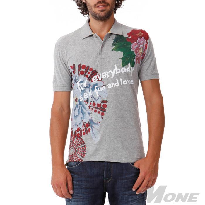 大きいサイズ メンズ XL XXL 3XL DESIGUAL (デシグアル) デザイン半袖ポロシャツ (Kobe) 42l1736