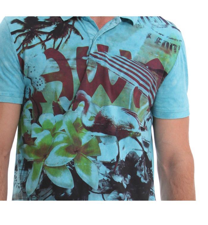 大きいサイズ メンズ XL XXL 3XL DESIGUAL (デシグアル) デザイン半袖ポロシャツ (Julio) 41l1703