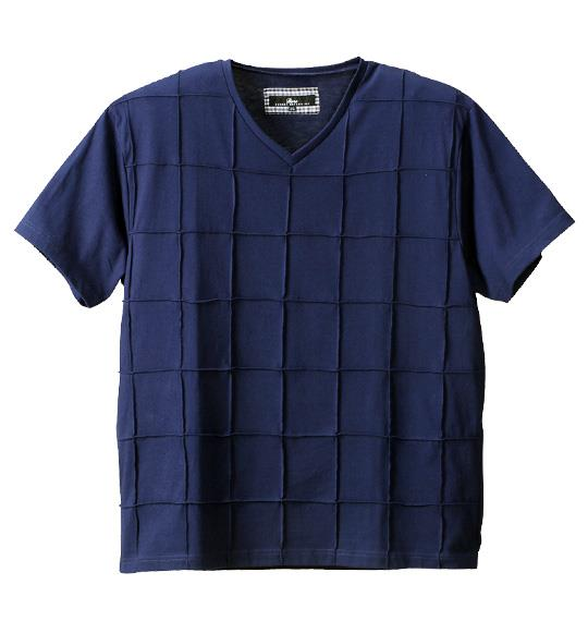 大きいサイズ メンズ Beno ピンタック 半袖 Vネック Tシャツ 半袖Tシャツ ネイビー 1158-4263-3 3L 4L 5L 6L