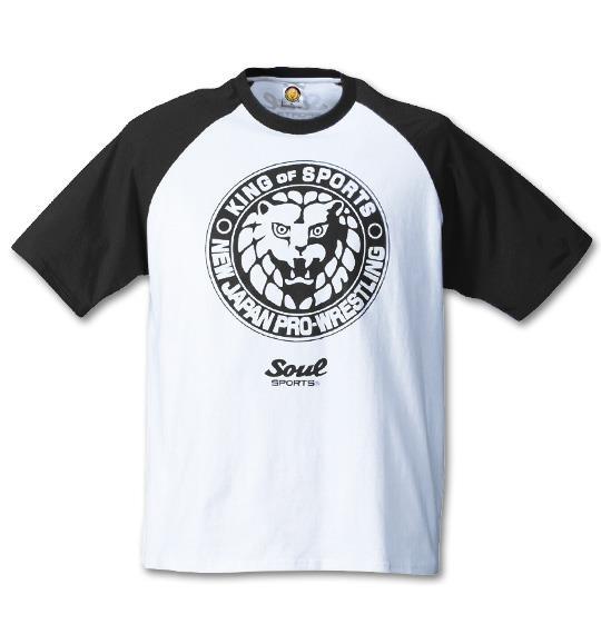 大きいサイズ メンズ SOUL SPORTS × 新日本プロレス ラグラン 半袖 Tシャツ 半袖Tシャツ ホワイト × ブラック 1168-4350-1 3L 4L 5L 6L 8L