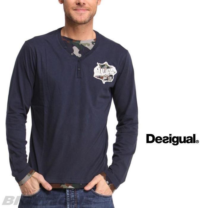 大きいサイズ メンズ DESIGUAL (デシグアル) ヘンリーネックTシャツ (Pau) 48t1447