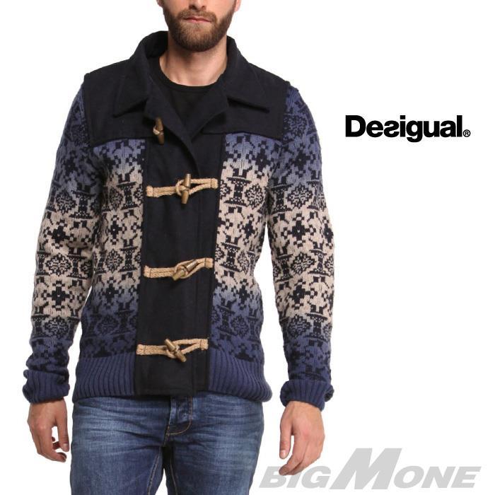 大きいサイズ メンズ DESIGUAL (デシグアル) トグル付セーター (Indigo Degradado) 48j1120