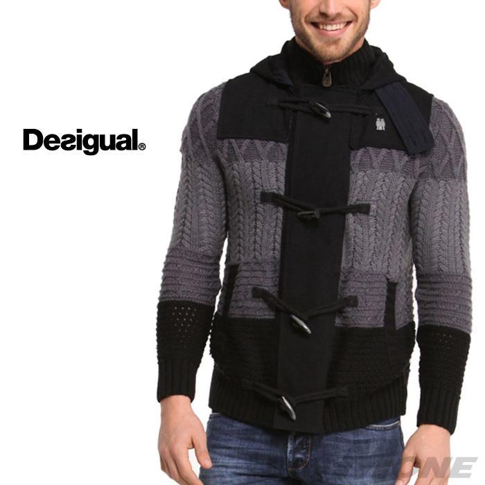 大きいサイズ メンズ DESIGUAL (デシグアル) トグル付デザインセーター (Dani) 47j1125