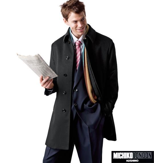大きいサイズ メンズ MICHIKO LONDON KOSHINO ステンカラー コート アウター ブラック 1151-4300-1 3L 4L 5L 6L
