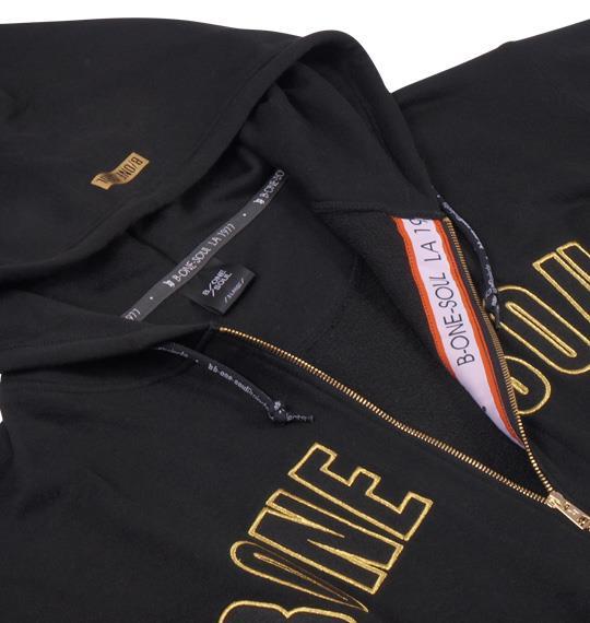 大きいサイズ メンズ b-one-soul ロゴ 刺繍 フルジップパーカー 長袖 パーカー ブラック 1158-4607-2 3L 4L 5L 6L
