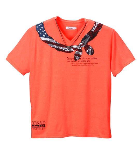 大きいサイズ メンズ EUROYAL ネオンカラー 半袖 Vネック Tシャツ 蛍光 オレンジ 1158-5140-1 3L 4L 5L 6L 8L