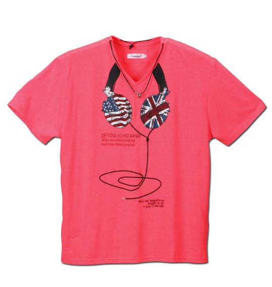 大きいサイズ メンズ EUROYAL ネオンカラー 半袖 Vネック Tシャツ 蛍光 ピンク 1158-5141-2 3L 4L 5L 6L