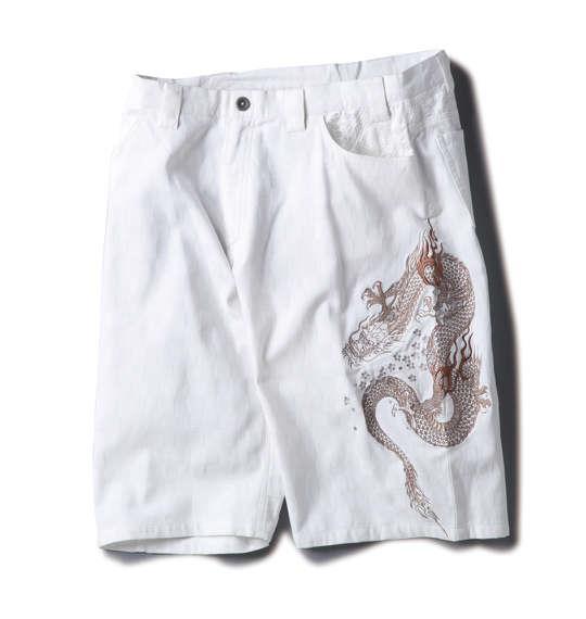 大きいサイズ メンズ 絡繰魂 ブロック ジャガード 龍神刺繍 ハーフパンツ ボトムス ズボン パンツ 短パン ホワイト 1154-5212-1 100 110 120 130