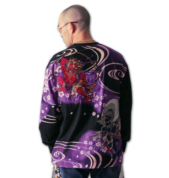 大きいサイズ メンズ 絡繰魂 鬼風雷神 刺繍 長袖 Tシャツ 長袖Tシャツ ブラック 1158-5392-1 3L 4L 5L 6L
