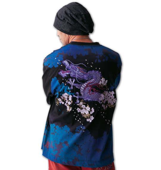 大きいサイズ メンズ 絡繰魂 桜龍神 刺繍 長袖 Tシャツ 長袖Tシャツ ブラック 1158-5393-1 3L 4L 5L 6L