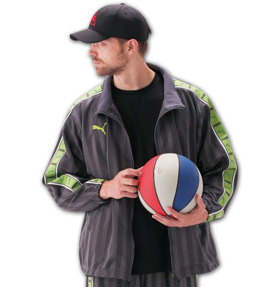 大きいサイズ メンズ PUMA トレーニングジャケット アウター ジャケット スポーツ チャコール × グリーン 1176-5300-3 4XO 5XO 6XO 7XO