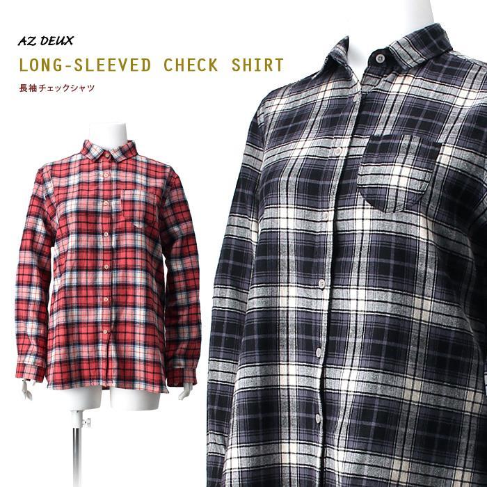 大きいサイズ レディース AZ DEUX 長袖 チェックシャツ azld-15ls04