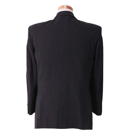 大きいサイズ メンズ セミピーク ダブル 2ツ釦 1ツ掛 スーツ ブラック × パープル 1122-5350-3 2L 3L 4L