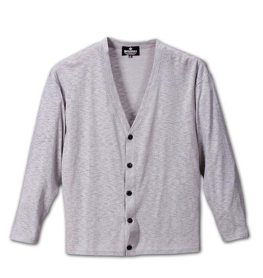 大きいサイズ メンズ BEAUMERE スラブ ジャガード カーデ + 長袖Tシャツ 上下セット セットアップ モクグレー × ブラック 1158-5651-1 3L 4L 5L 6L