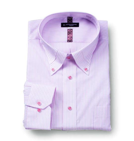 大きいサイズ メンズ HIROKO KOSHINO HOMME マイターB.D長袖シャツ ピンク × ホワイト 1177-6113-1 4L 5L 6L 7L 8L 9L