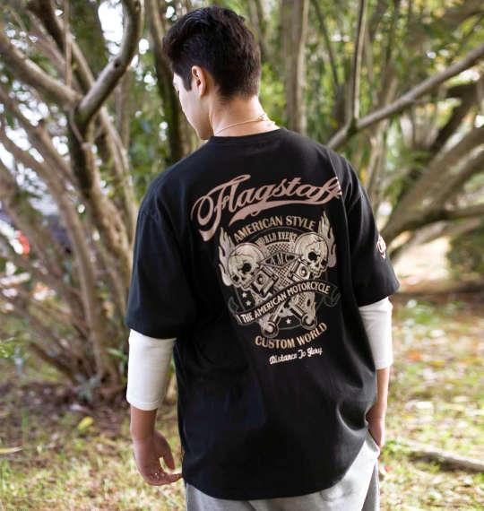 大きいサイズ メンズ FLAGSTAFF 刺繍 + プリント フェイク レイヤード 長袖 Tシャツ 長袖Tシャツ ブラック × ホワイト 1158-6121-1 3L 4L 5L 6L