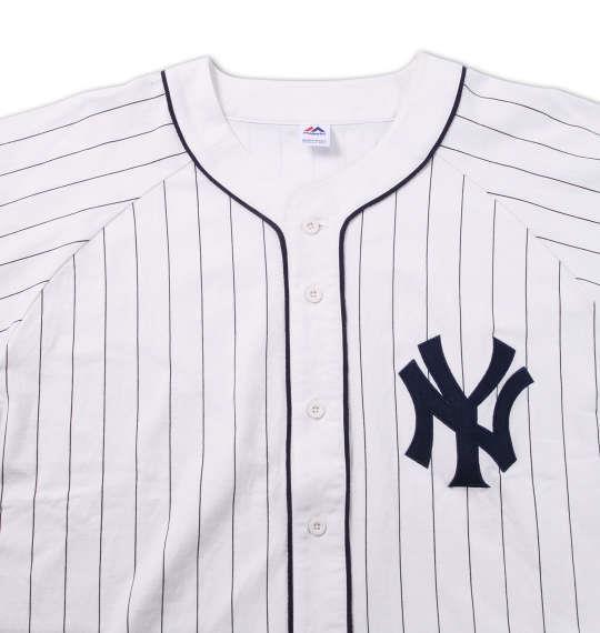 大きいサイズ メンズ Majestic ピンストライプベースボールシャツ ホワイト 1178-6511-1 3L 4L 5L 6L