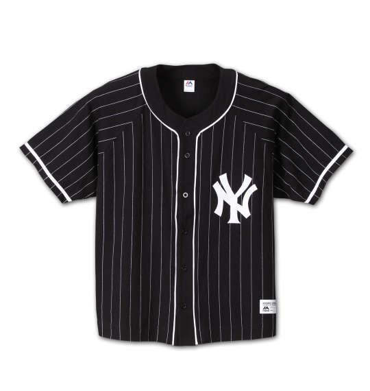 大きいサイズ メンズ Majestic ピンストライプベースボールシャツ ブラック 1178-6511-2 3L 4L 5L 6L