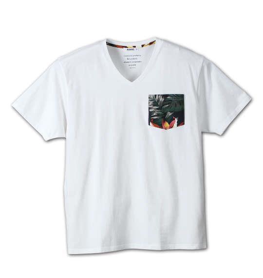 大きいサイズ メンズ NAVAL プリペラ ポケット 半袖 Vネック Tシャツ 半袖Tシャツ オフホワイト 1158-6250-1 3L 4L 5L 6L