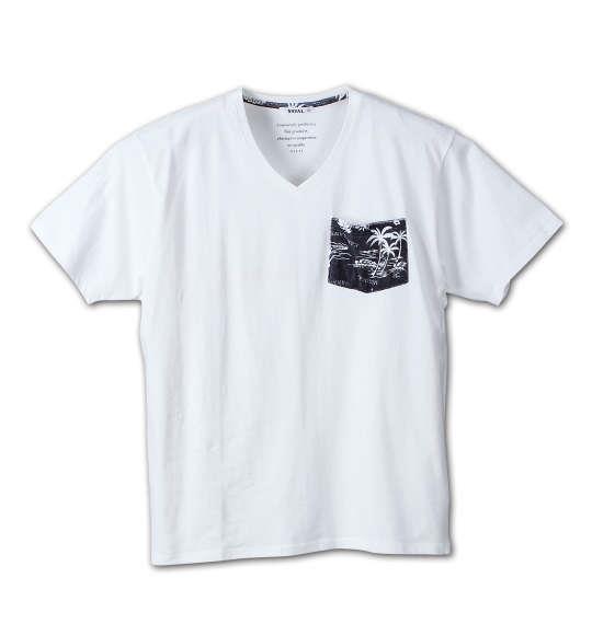 大きいサイズ メンズ NAVAL パイルポケット 半袖 Vネック Tシャツ 半袖Tシャツ オフホワイト 1158-6251-1 3L 4L 5L 6L
