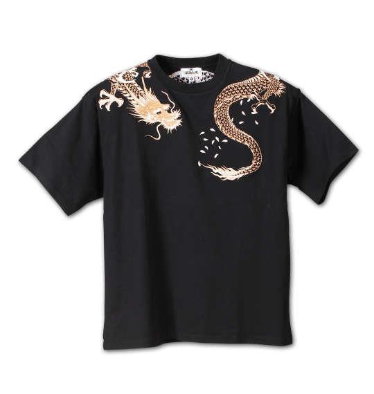 大きいサイズ メンズ 絡繰魂 巻龍 刺繍 半袖 Tシャツ 半袖Tシャツ ブラック 1158-6501-1 3L 4L 5L 6L