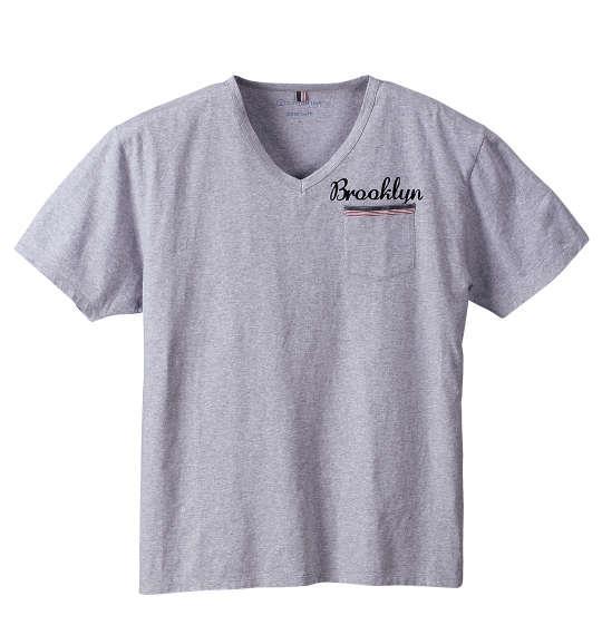 大きいサイズ メンズ Free gate COTTON USA 天竺 ポケット付 半袖 Vネック Tシャツ 半袖Tシャツ モクグレー 1158-6541-2 3L 4L 5L 6L 8L