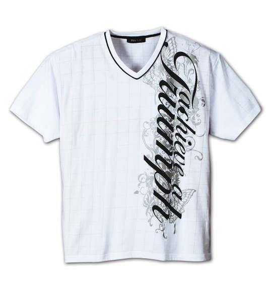 大きいサイズ メンズ WILD LIFE  針抜き ウインドペン 半袖 Vネック Tシャツ 半袖Tシャツ ホワイト 1158-6560-1 3L 4L 5L 6L 8L