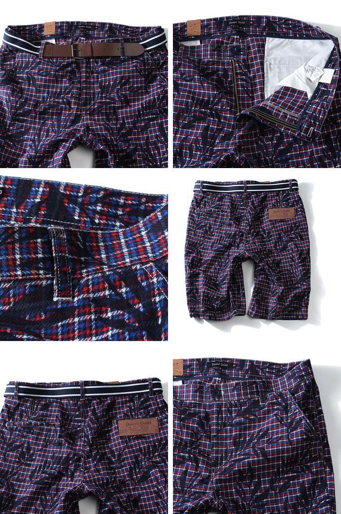 大きいサイズ メンズ DANIEL DODD ボトムス パンツ チェック + プリントベルト付 ショートパンツ ズボン azsp-1401