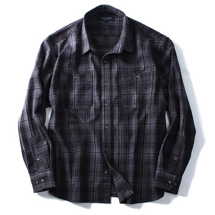 大きいサイズ メンズ SARTORIA BELLINI シャツ 長袖 シャギー チェック ワークシャツ azsh-160408