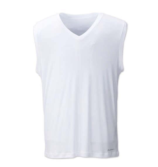 大きいサイズ メンズ Phiten Vネック スリーブレス インナー インナーシャツ 吸水速乾 ホワイト 1149-6221-1 3L 4L 5L 6L 8L
