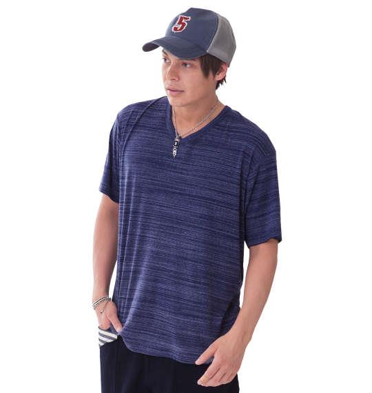 大きいサイズ メンズ Beno AB 杢 半袖 Vネック Tシャツ 半袖Tシャツ ネイビー 1158-6565-1 3L 4L 5L 6L