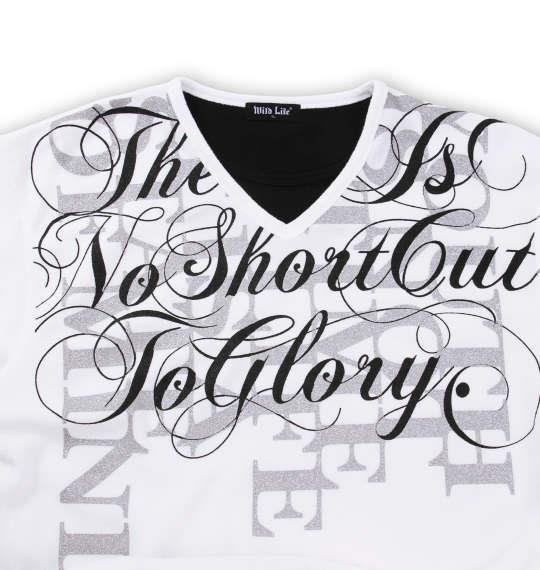 大きいサイズ メンズ WILD LIFE ブークレフェイク 長袖 Vネック Tシャツ 長袖Tシャツ ホワイト 1158-6320-1 3L 4L 5L 6L 8L