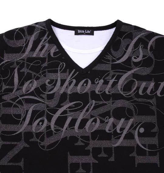 大きいサイズ メンズ WILD LIFE ブークレフェイク 長袖 Vネック Tシャツ 長袖Tシャツ ブラック 1158-6320-2 3L 4L 5L 6L 8L