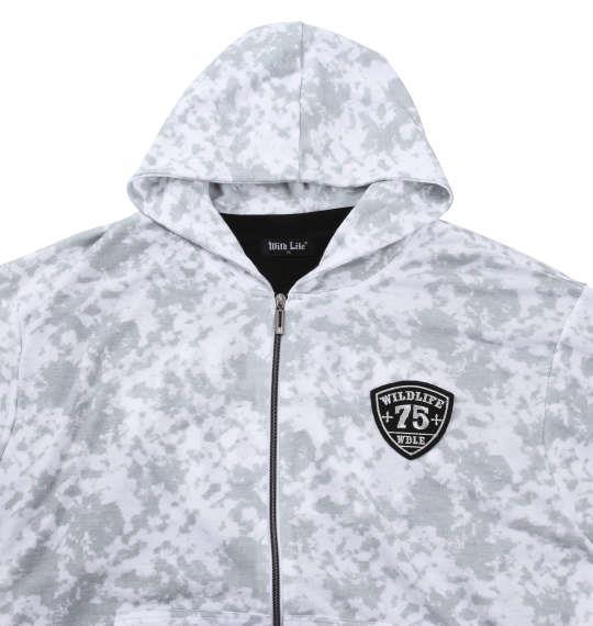大きいサイズ メンズ WILD LIFE 総柄 フルジップパーカー + 半袖Tシャツ 上下セット セットアップ ホワイト × ブラック 1158-6321-1 3L 4L 5L 6L 8L