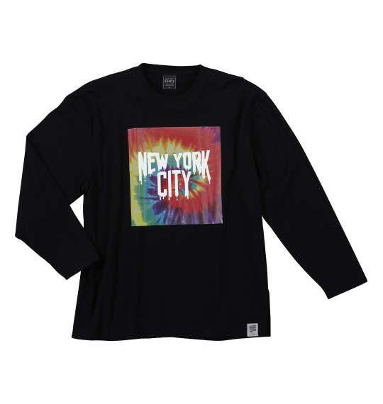 大きいサイズ メンズ SHELTY タイダイ BOX プリント 長袖 Tシャツ 長袖Tシャツ ブラック 1158-6340-2 3L 4L 5L 6L